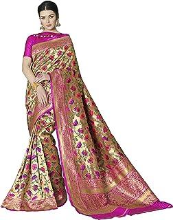 63a7f4e815 Shangrila Designer Women's Banarasi Silk Heavy Paithani Floral Saree with  Brocade Blouse Piece (Gold)