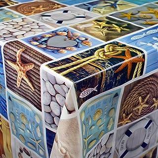 KEVKUS Toile Cirée Nappe Table au Mètre 06126-00 Maritime Étoile de Mer Mer Éligible en Carré Rond Oval - Bariolé, 140 x 2...