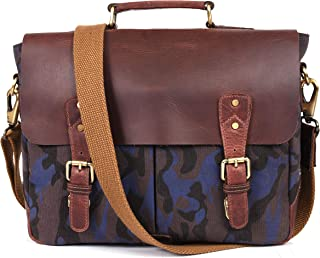 Aaron Reserve Laptop Messenger bag for Mens Leather Briefcase Business Satche Bag Camo Canvas (Fossil)