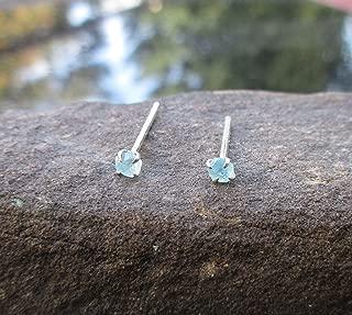 Tiny 3mm Blue Apatite Stud Earrings Sterling Silver Dainty Crystal Studs Raw Stone Gemstone Studs