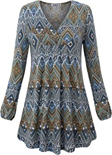 Women's V Neck Long Sleeve Fashion Casual Blouse Top A-line Flowy Tunic Shirt