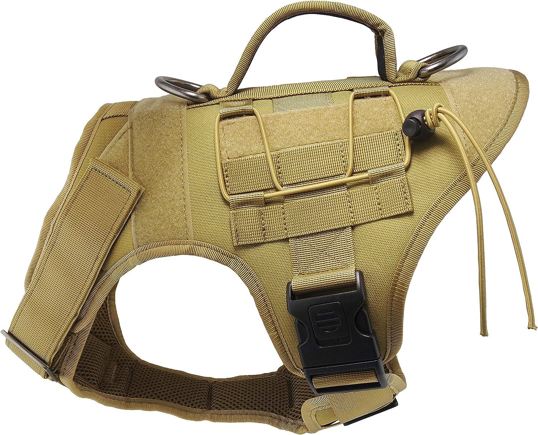 Mudinpet Arnés táctico para perro, chaleco de servicio militar para perros pequeños, medianos y grandes, chaleco de utilidad para perros a prueba de tirones