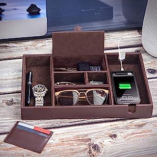 Makuzo Valet Tray for Men | Dresser Top Organizer | Bedside Organizer | Nightstand Organizer Tray | Faux leather Valet Tra...