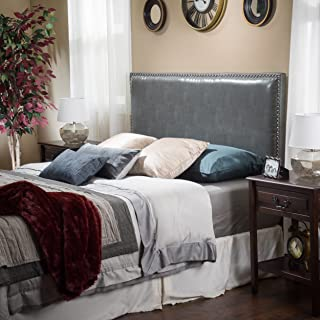 Christopher Knight Home Westin Queen to Full Size Bed Adjustable Leather Headboard, Grey