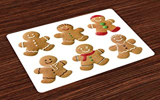 Ambesonne Gingerbread Man Place Mats Set of 4, Vivid Homemade Biscuits Sugary Xmas Treats Tasty Pastry, Washable Fabric Placemats for Dining Table, Standard Size, Brown Green