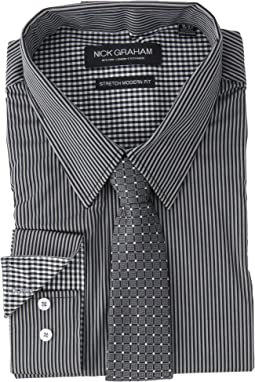Pencil Strip Stretch Dress Shirt with Micro Neat Tie