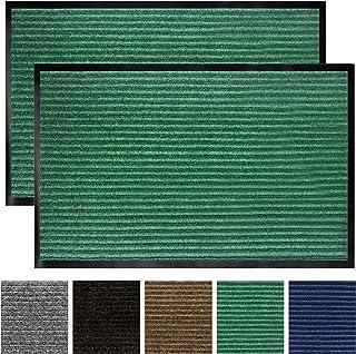 Gorilla Grip Original Low Profile Rubber Door Mat, 29x17, Pack of 2, Durable Doormat for Indoor and Outdoor, Waterproof, Easy Clean, Home Rug Mats for Entry, Patio, High Traffic, Green