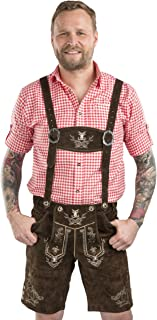Schöneberger Men's Bavarian Lederhosen Brown - Oktoberfest بنطلونات جلدية