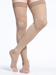 SIGVARIS Men's & Women's Essential Cotton 230 Open Toe Thigh-Highs w/Grip Top 30-40mmHg