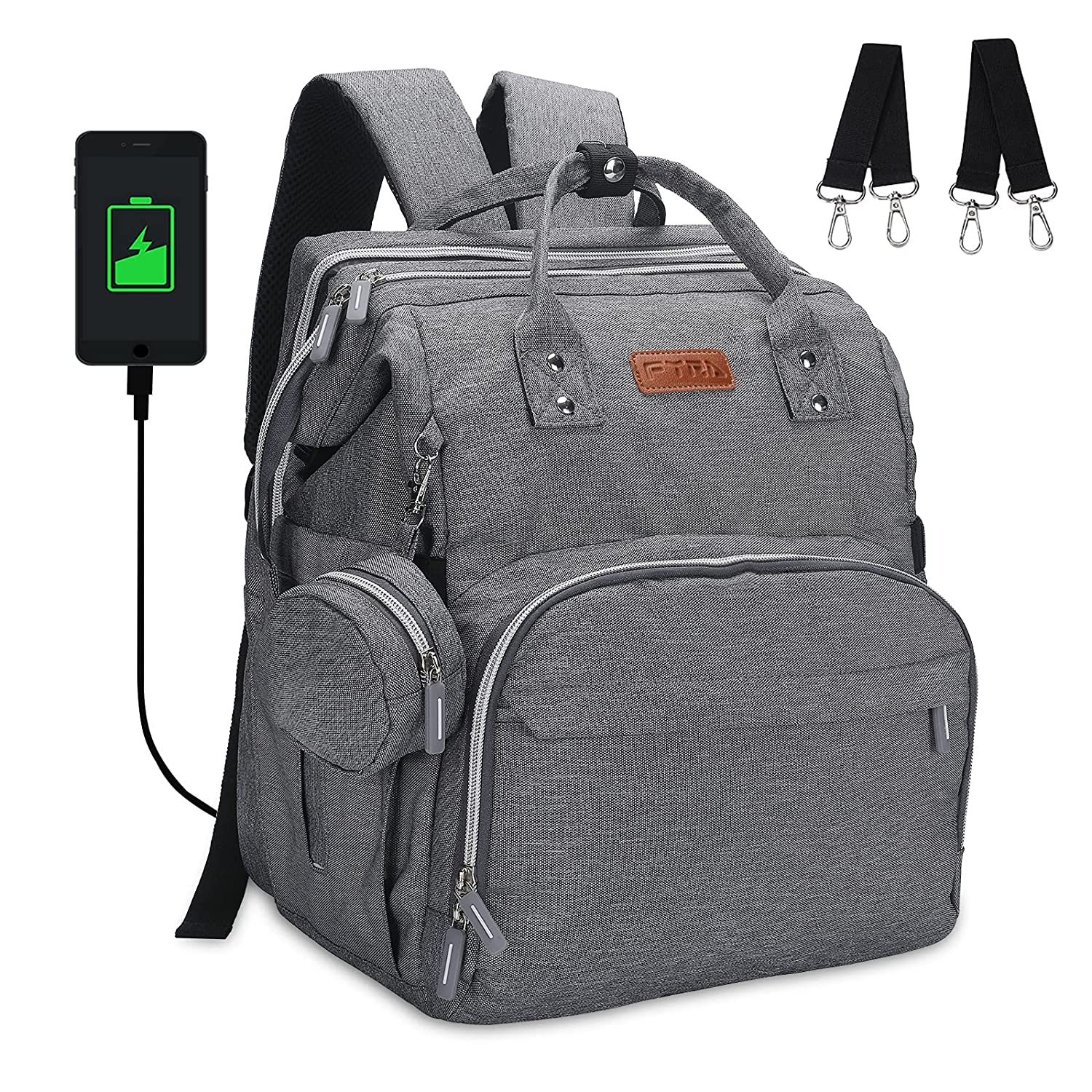 Diaper Bag Backpack, Large Capacity Multifunction Diaper Bags, Diaper Backpack with Durable and Stylish for Moms Dads, Travel Back Pack with Fast Bottle Warmer Bag and Built-in USB Charging Port