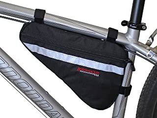 Bushwhacker Gallup Black - Medium Triangle Bicycle Frame Bag w/Reflective Trim Cycling Pack Bike Under Seat Top Tube Bag Front Rear Accessories Crossbar