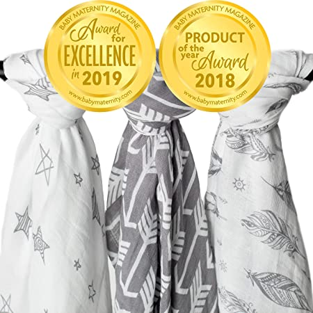 Muslin Swaddle Blankets, 3 Pack Large 47x47in Baby Blanket, Wanderer
