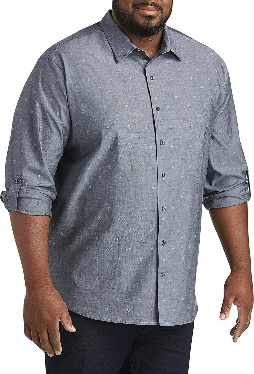 DXL Synrgy Big and Tall Roll-Sleeve Sport Shirt, Eventide