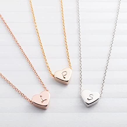 necklaces ❤️ A Tiny Heart Initial Necklace - Handstamped Delicate Initial Personalized Heart bridesmaid Wedding Birthday Mothers day Best Mother's Day Gift