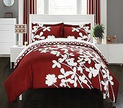 مجموعة أغطية لحاف أنيقة من 3 قطع من Chic Home، الملكة الحمراء
