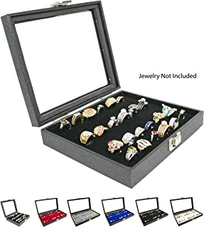 Novel Box® Half-Size Glass Top Black Jewelry Display Case + Black 36 Slot Ring/Cufflink Display Insert + Custom NB Pouch