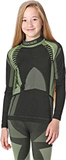 Ladeheid Camiseta Térmica Mangas Largas Ropa Interior Unisexo Niños LASS0008 (Negro/Verde, 146-152)