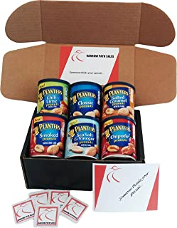 Planters Peanuts Variety Snack Pack & Gift Box. 6- 6oz Cans of Assorted Healthy Peanuts, Includes: Chili Lime, Classic, Salted Caramel, Smoked, Chipotle, Sea Salt Vinegar. Bundle of 6 Nut Variety Pack