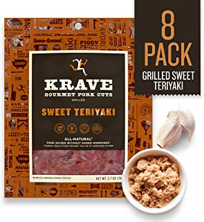 KRAVE Jerky Gourmet Pork Cuts, Grilled Sweet Teriyaki, 2.7 Ounce (Pack Of 8)