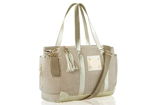 12a9daf5465 Designer Tote Diaper Bag   Luxurious Design   Large Diapering Baby Totebag    12 Pockets with Bonus Stylish Changing Mat Clutch   (Classic Tote) Beige