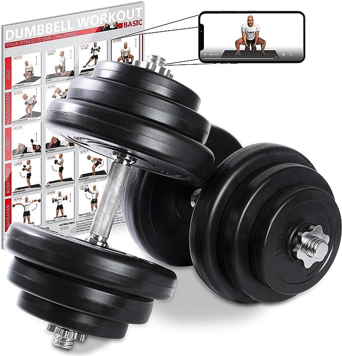 Manubri pesi 40 kg set (2 x 20 kg) + pdf workout (nero) powrx B07PB1F1K1