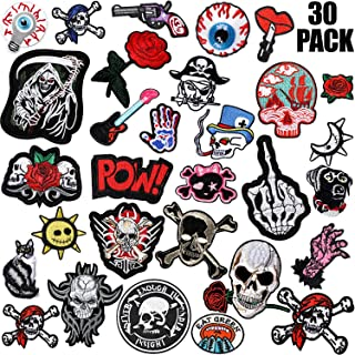 WILLBOND 30 Pieces Rock Punk Band Patch Set Punk Iron-on Patches Assorted Punk Embroidered Iron-on Patches for Jackets Hat...