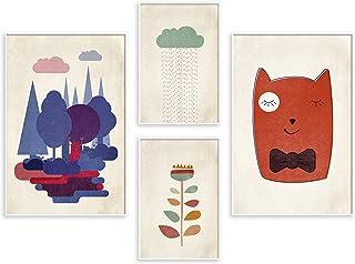 murando Set de 4 Poster avec Cadre Noir Tableaux Impression Artistique Poster Encadré Tableaux Murale Galerie Moderne Déco...