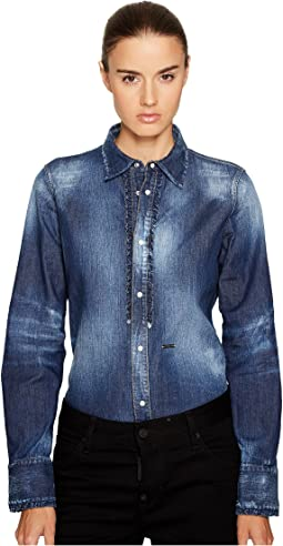Stretch Denim Shirt with Ruffle Detail
