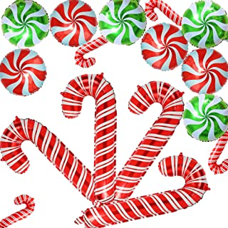 Christmas Candy Cane Foil Mylar Balloons Big Xmas Birthday Party Decoration Supplies Photo Backdrop Red And White Green Sweet Candies Theme 16 Pcs