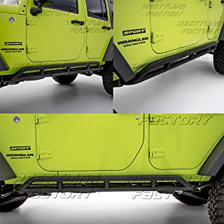 Restyling Factory 07-16 Jeep Wrangler Jk Black Textured Body Side Armor Rocker Guard Rock Sliders 4 Door Tube (Black)