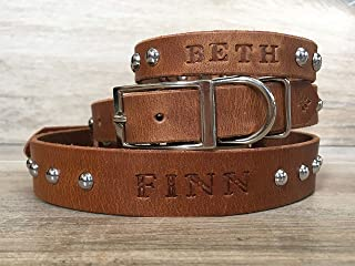 Handmade Personalized Brown Leather Dog Collar, Silver -Tone Hardware with Spikes Dots