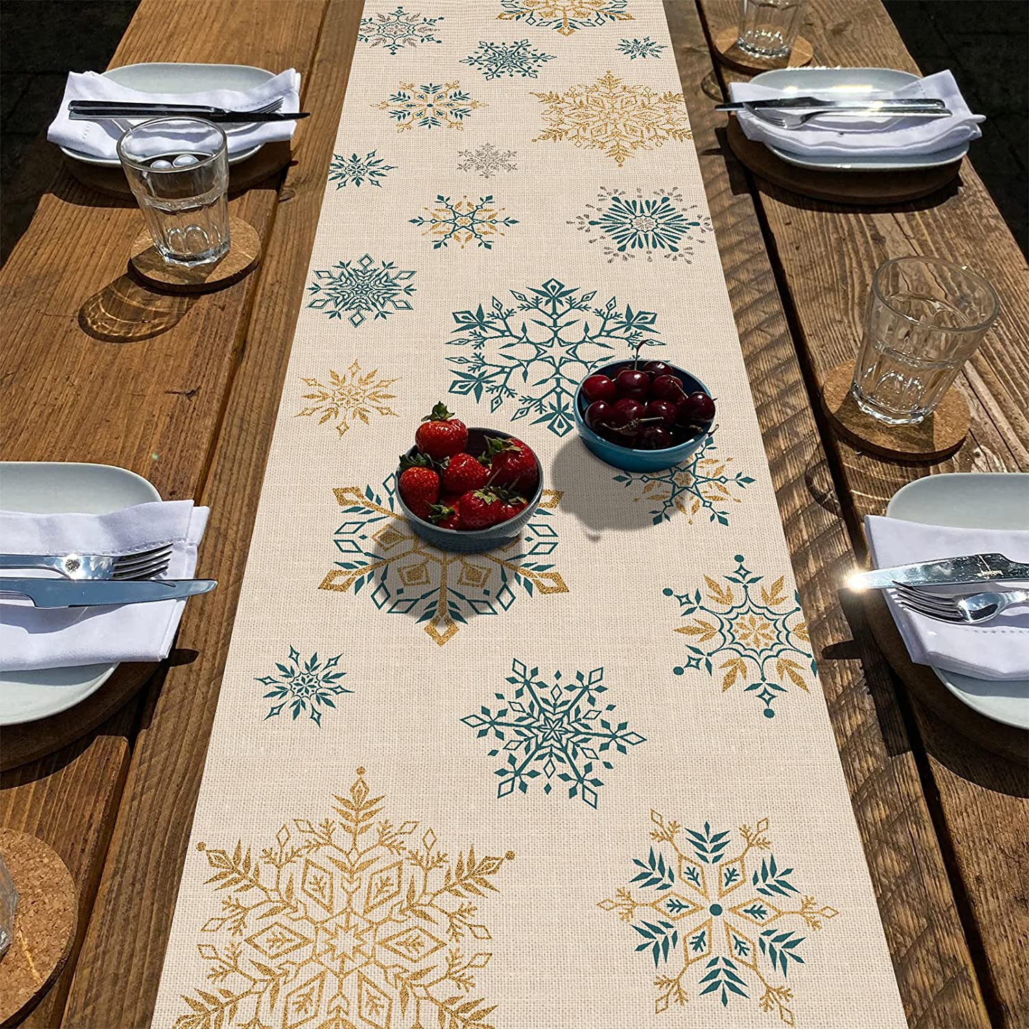 Seliem Winter Snowflakes Table Runner, Gold Blue Tabletop Scarf Home Kitchen Christmas Holiday Decor Sign, Seasonal Farmhouse Rustic Burlap Dining Decorations Party Supplies 13 X 72 Inch