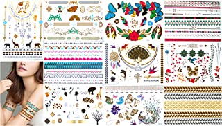 Tropical Hawaiian Metallic Temporary Tattoos in Gold Silver -Bracelets, Necklaces, Wrist and Armbands(10 Sheets)