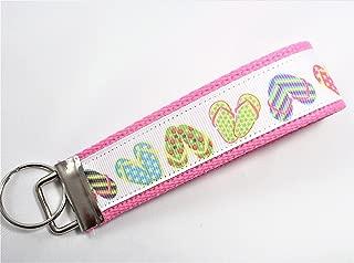 Flip Flop Ribbon Wristlet Key Fob Keychain Pink