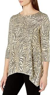 Women's Plus Size Embellished Zebra Stripe Printed Foil Heather Jersey Top