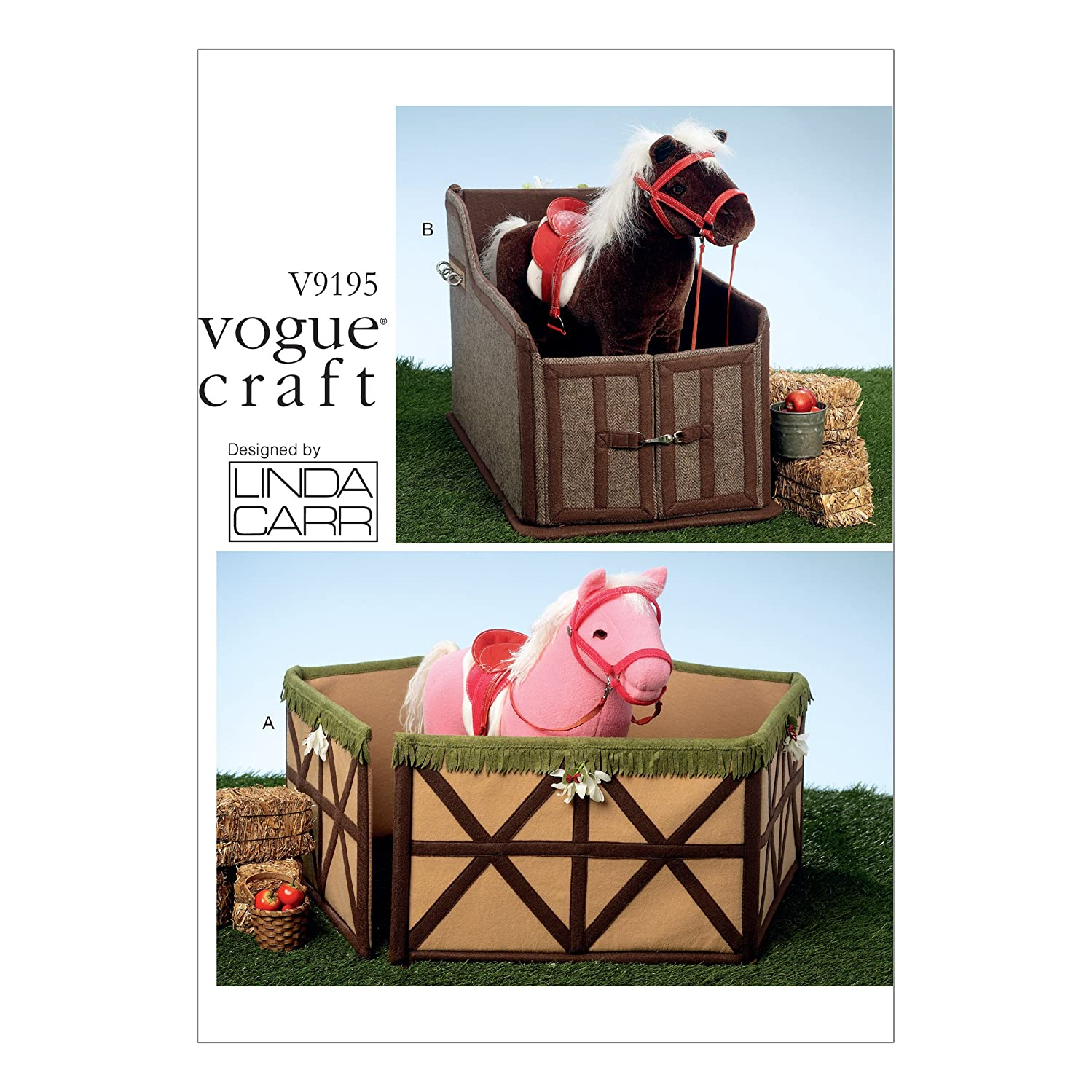 Vogue Patterns V9195OSZ Plush Toy Horse Corral and Stables Sewing Pattern for Girls, One Size