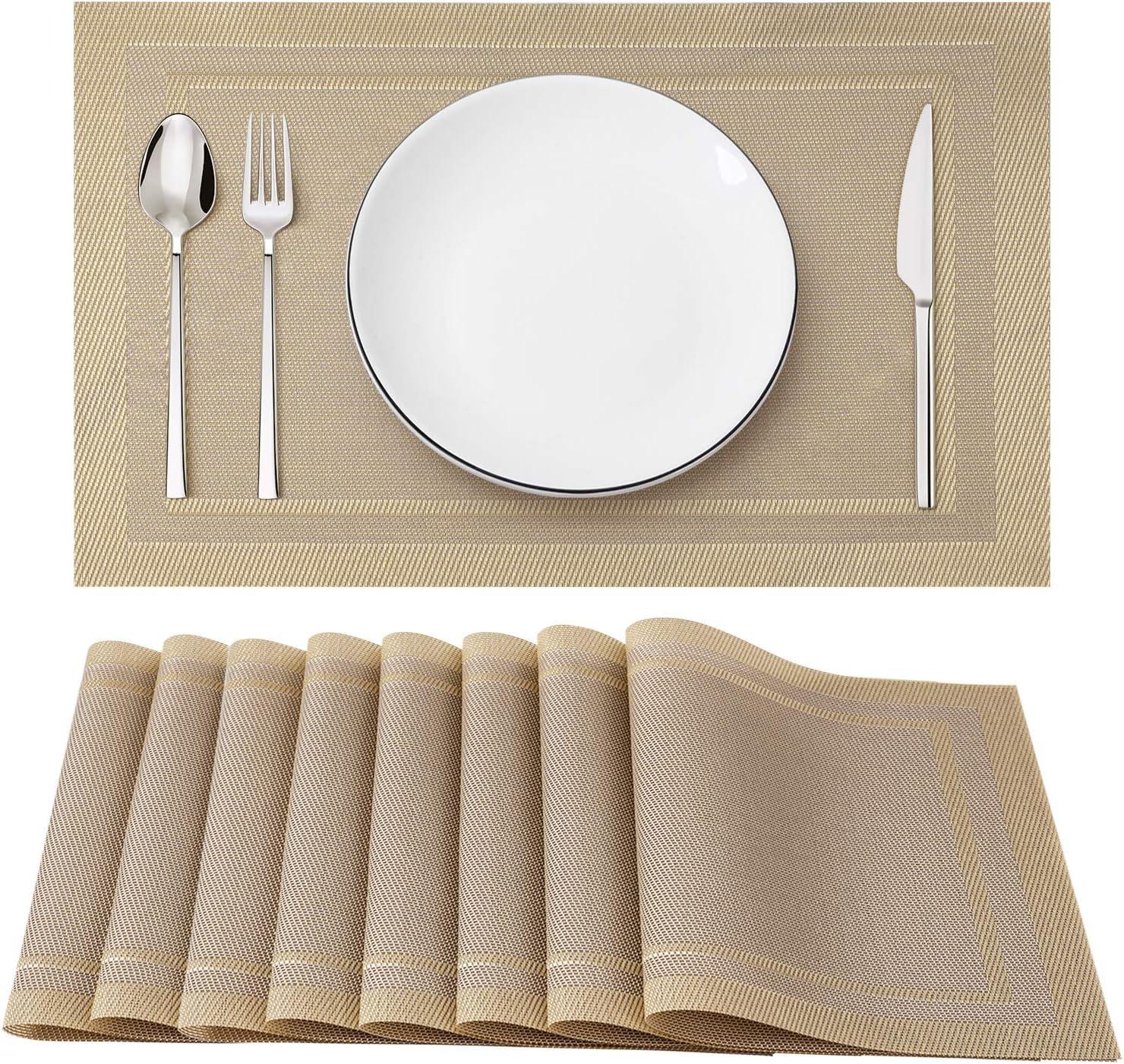 Washable Durable PVC Table Mats Woven Vinyl Placemats Beige White, 8Pcs Set of 8 Heat-Resistant Placemats Stain Resistant Anti-Skid Placemats for Kitchen Table SD SENDAY Placemats