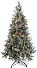 WeRChristmas Pre-Lit Scandinavian Blue Spruce Christmas Tree with 200 Chasing Warm LED Lights, 5 feet/1.5m