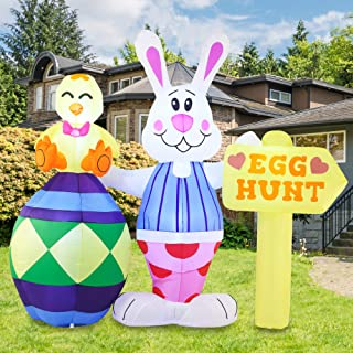 Joiedomi Easter Inflatable Outdoor Decorations 6 ft Tall Bunny with Sign Inflatable with Build-in LEDs Blow Up Inflatables...