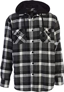 Gioberti Men's Removable Hoodie Plaid Checkered Flannel Button Down Shirt