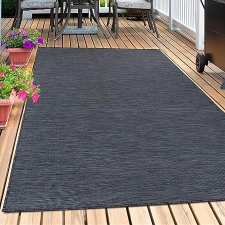/& Outdoor Flachgewebe Uni Naturoptik Grau Schwarz Sisal Optik Teppich In
