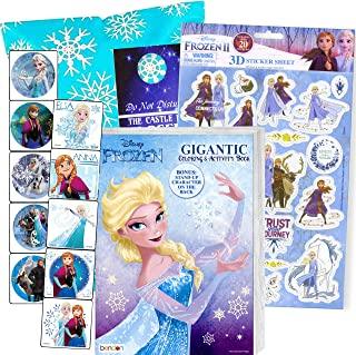 Disney Frozen Coloring Book Set with Frozen Stickers - Bundle Includes Frozen 192 pg Coloring Book, Frozen Stickers, 3-D Puffy Stickers, Castle Door Hanger, in Gift Bag