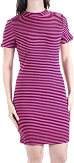 kensie Womens Striped Mock Neck Casual Dress Pink S