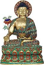 Inlay Medicine Buddha in Meditation - Tibetan Buddhist Deity - Brass Statue with Inlay Work