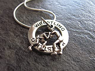 Wrestling Necklace: Silver Wrestling Charm Necklace. Sports pendant gift for wrestling mom to show support! Christmas, birthday presents.