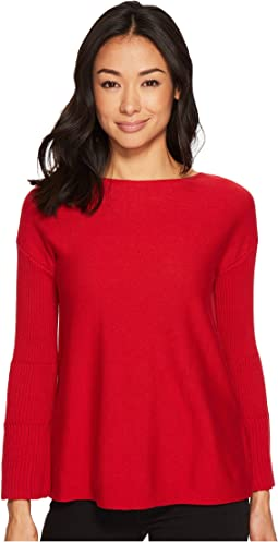 Vince Camuto Specialty Size - Petite Ribbed Bell Sleeve Sweater