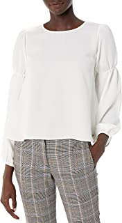 Armani Exchange A X Women's Flowing Scoop Neck Top with Peasant Sleeves