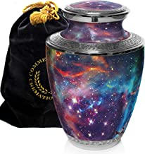 Cosmic Galaxy Universe Cremation Urns for Adult Ashes for Funeral, Niche or Columbarium, 100% Brass, Cremation Urns for Human Ashes Adult 200 Cubic inches, Brass, Cosmic Galaxy, Large