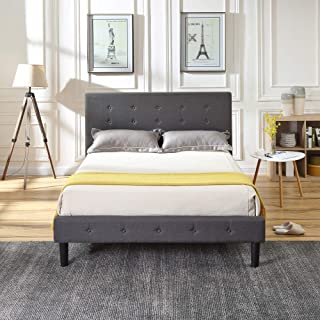 Cambridge Upholstered Platform Bed | Headboard and Metal Frame with Wood Slat Support | Grey, King