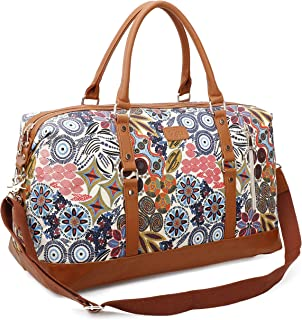 Travel Tote Bag Carry On Shoulder Bag Overnight Duffel in Trolley Handle (Vintage White)